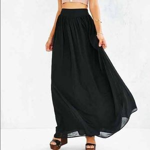 Pins and Needles Black Chiffon Maxi Skirt